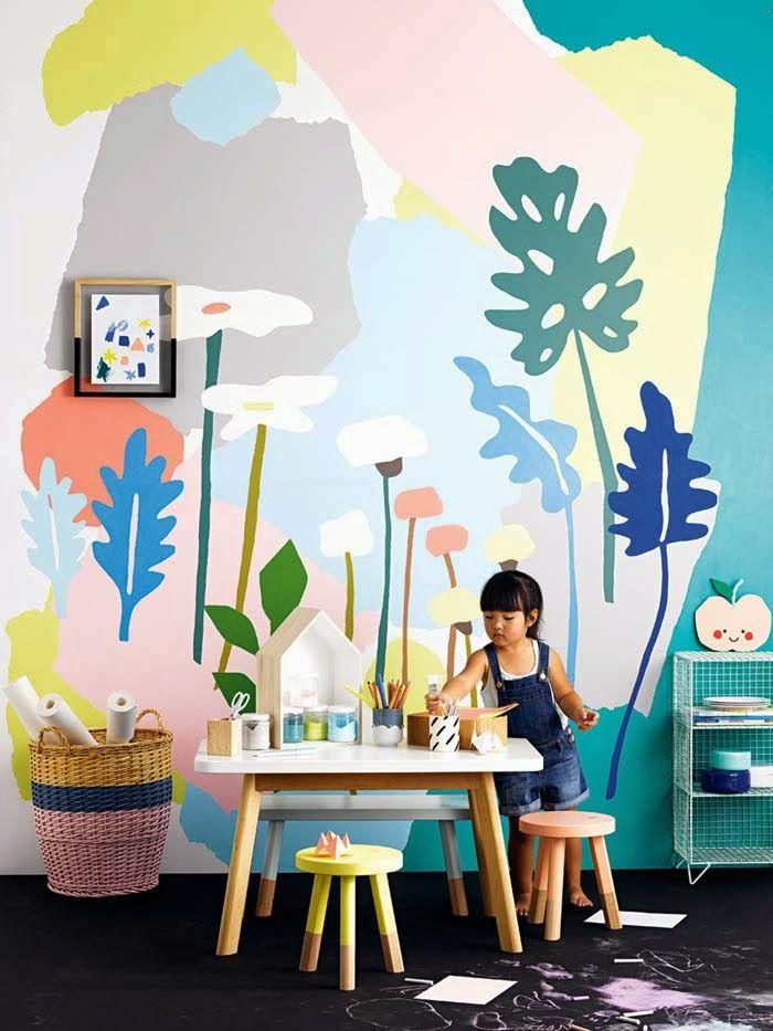 farebná stena v detskej izbe v pastelových farbách