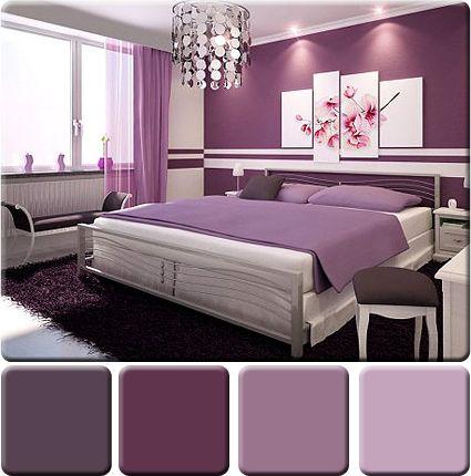 monochromatická schéma použitá v spálni v odtieňoch fialovej