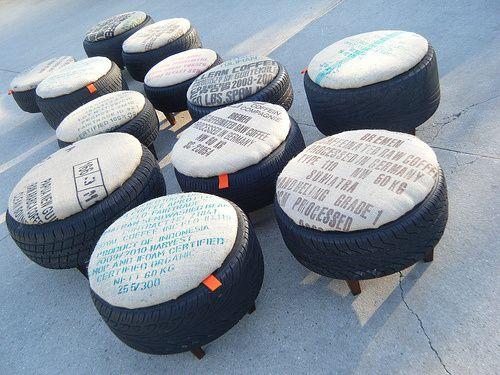 taburety z pneumatiky a stylovým podsedákem