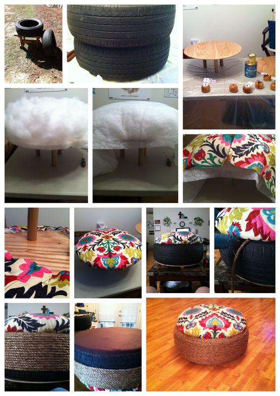 výroba krásného taburetu s barevným potahem