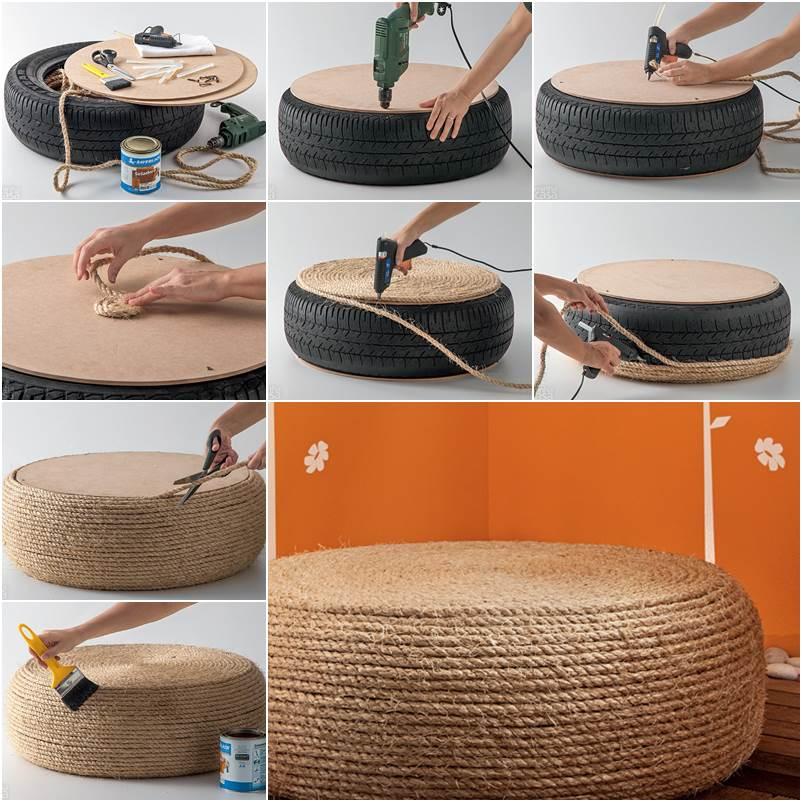 kompletní obrázkový postup na výrobu taburetu z pneumatiky