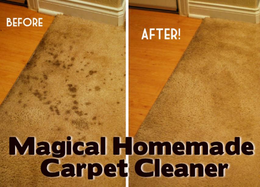 Koberec před a po vyčištění prostředkem vyrobeným doma