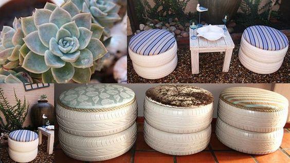 Taburety z penumatiky natřené na bílo s polštáři