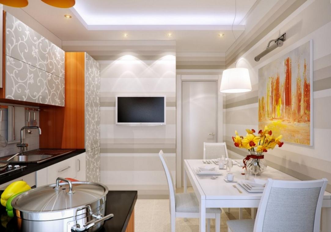 moderná a vzdušná kuchyňa v bielo oranžovej kombinácií