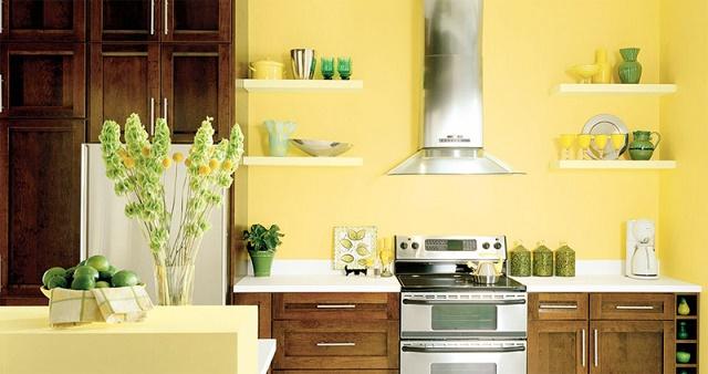 dizajn kuchyne podľa princípov feng shui v krásnej žltej farbe