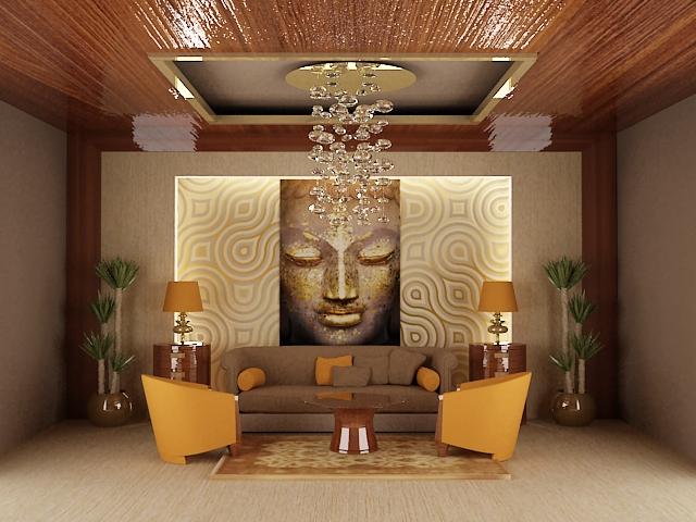 obývačka zariadená v štýle feng shui