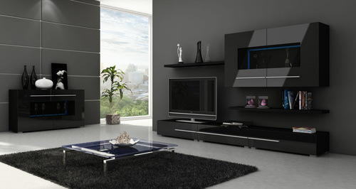 moderná tmavá obývačka so svetlou podlahou