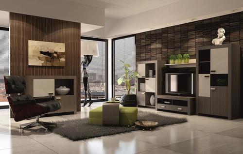 tmavý nábytok a steny v kombinácií so svetlo hnedou podlahou