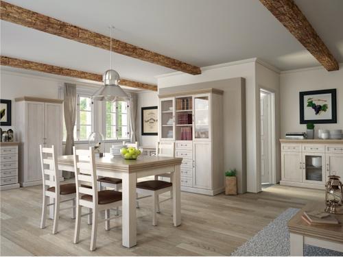 nábytok v štýle Provence s drevenými podlahami