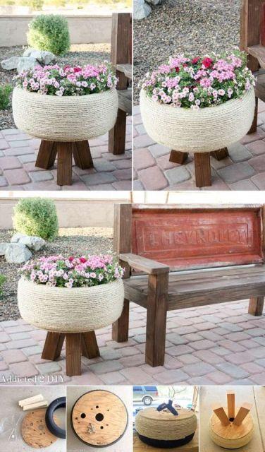 krásny kvetináč z pneumatiky
