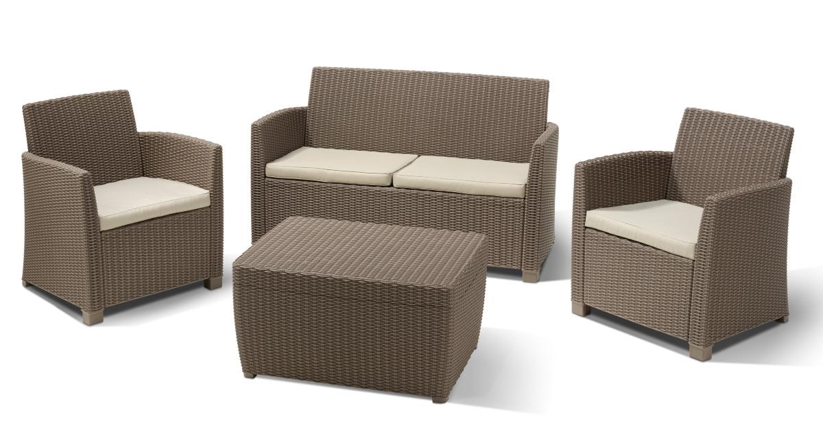 0d3c02060e3a Záhradný nábytok - Allibert - Corona cappuccino + sand 1+2+1 (um. Rattan)