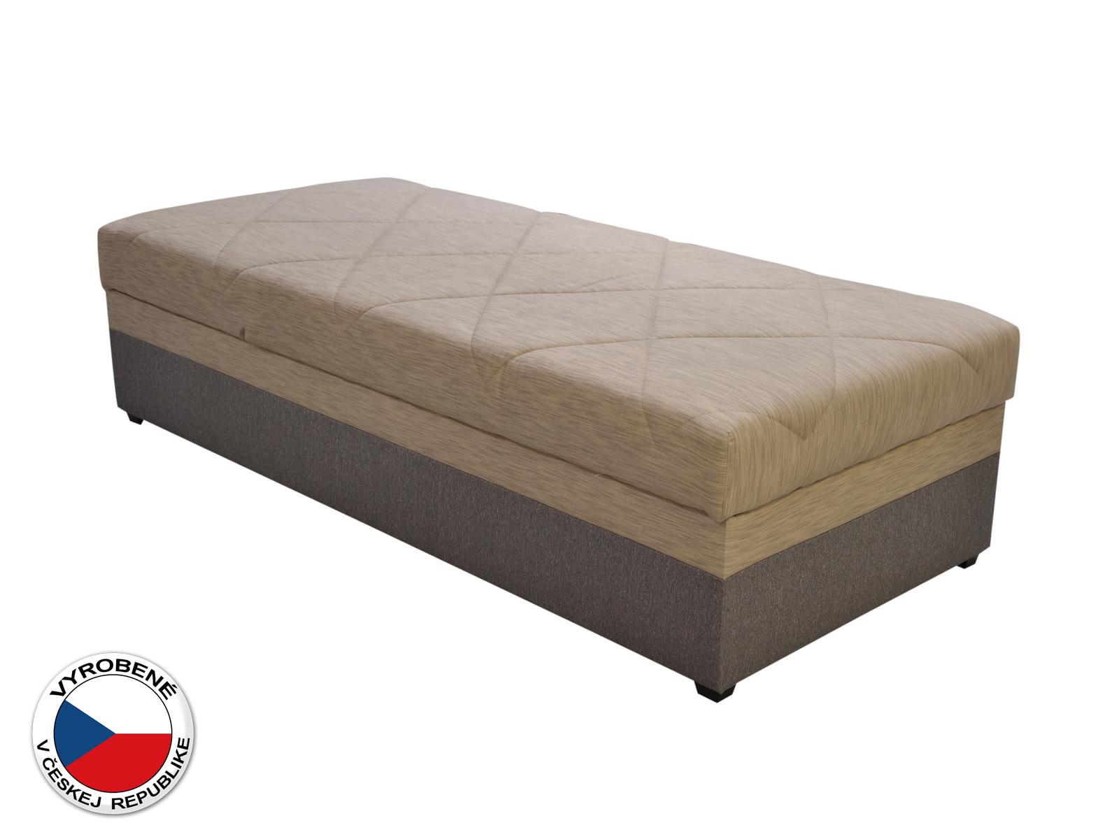 Jednolôžková posteľ (váľanda) 90 cm - Blanár - Evelina (béžová + hnedá) (s roštom a matracom)