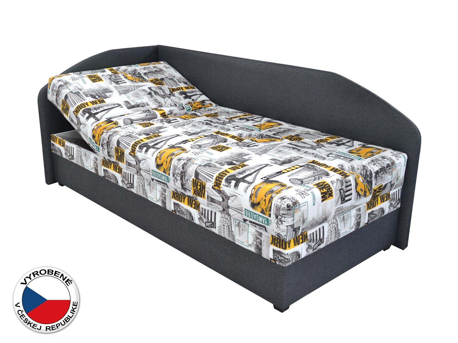 Jednolôžková posteľ (váľanda) 90 cm - Blanár - Turi (vzor Tettau 174-03 + tmavosivá) (s roštom a matracom) (L)