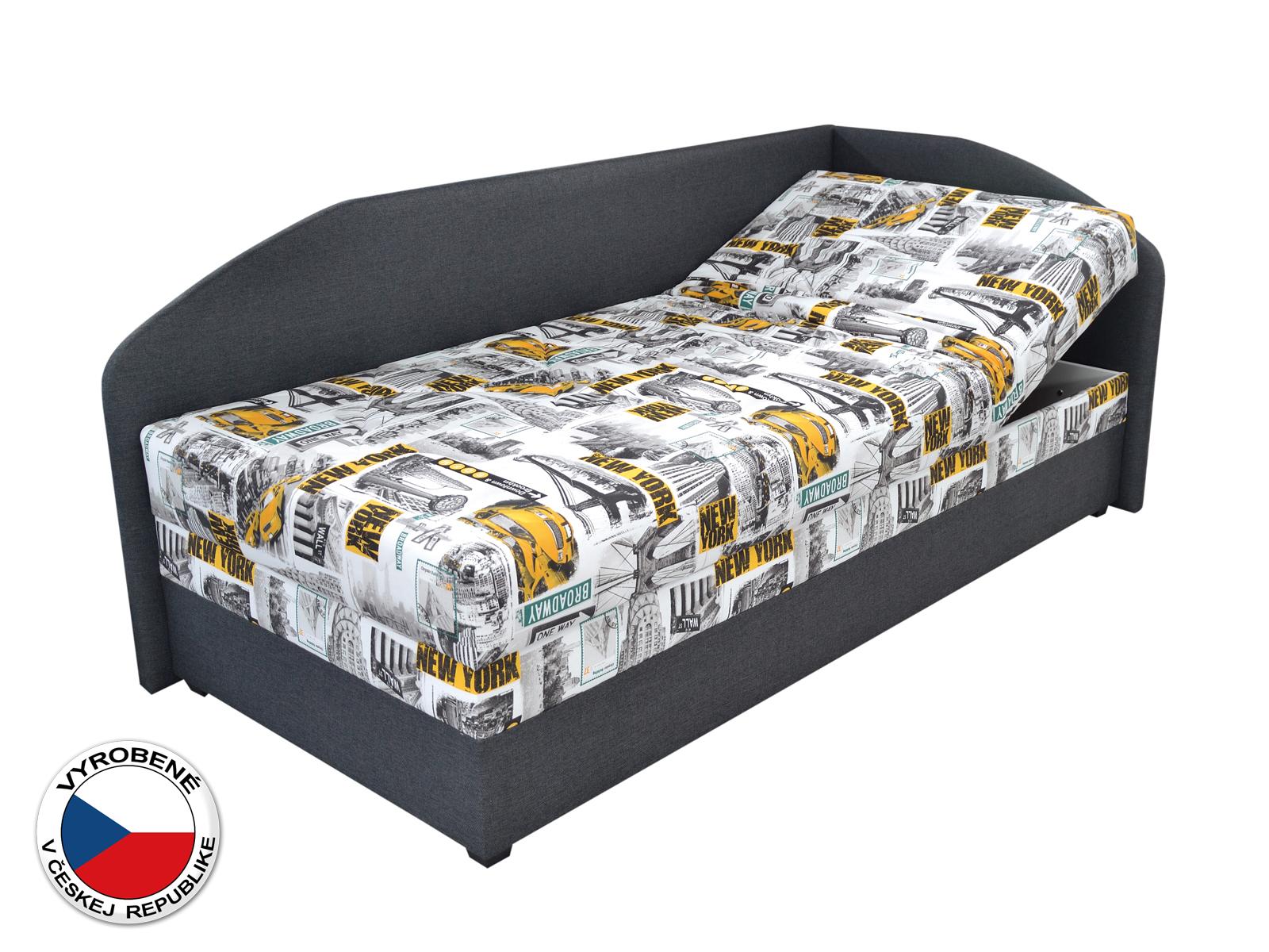 Jednolôžková posteľ (váľanda) 90 cm - Blanár - Turi (vzor Tettau 174-03 + tmavosivá) (s roštom a matracom) (P)