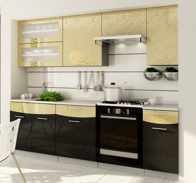 Kuchyňa - Casarredo - Smile 240 cm (zlatá + čierna) - Casa-018