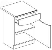 Dolná kuchynská skrinka - Casarredo - Smile - D60 1 zásuvka