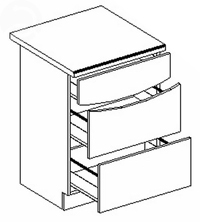 Dolná kuchynská skrinka - Casarredo - Smile - D60 3 zásuvky