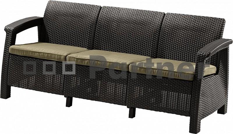 Záhradná lavička - Deokork - Corfu Love seat max hnedá (um. ratan)