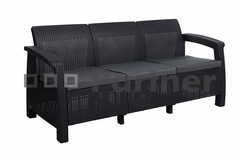 Záhradná lavička - Deokork - Corfu Love Seat Max antracit (umelý ratan)
