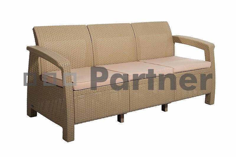 Záhradná lavička - Deokork - Corfu Love Seat Max béžová (umelý ratan)