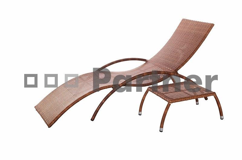 Záhradné lehátko so stolčekom - Deokork - Bade (umelý ratan)