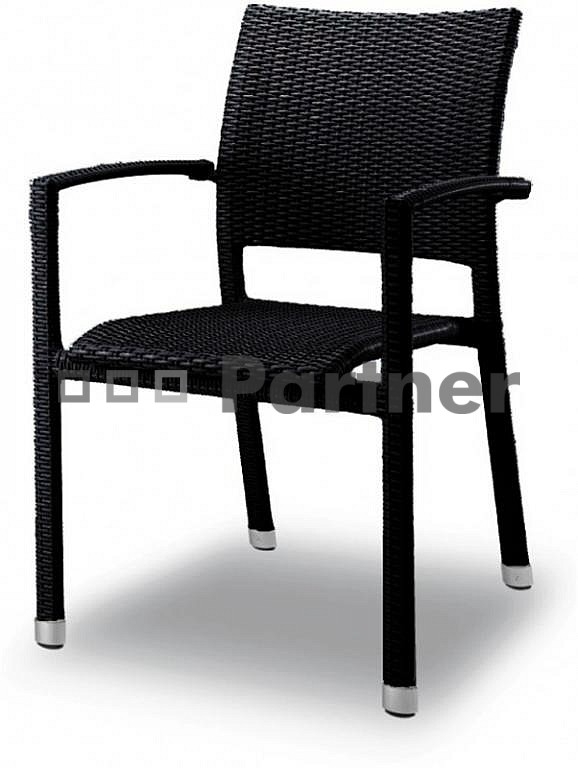 Záhradná stolička - Deokork - čierna C88101 NE (Umelý ratan)
