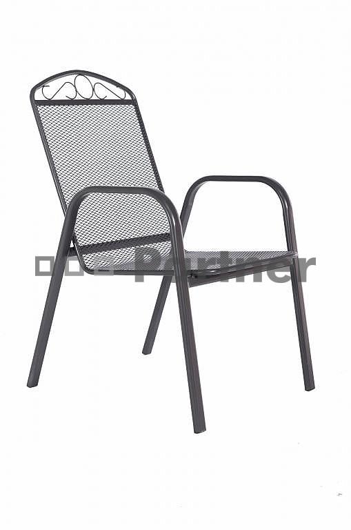 Záhradná stolička - Deokork - Grey čierna (kov)