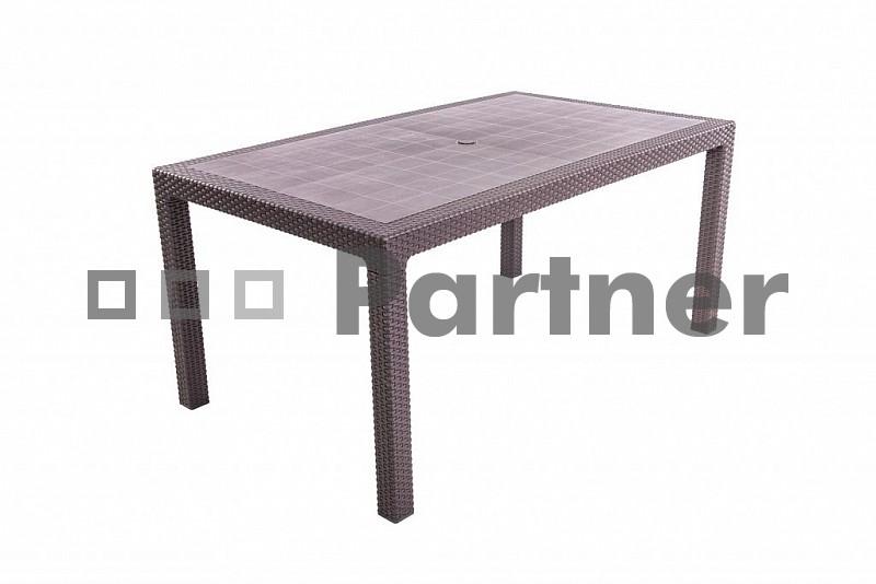 Záhradný stôl - Deokork - Manhattan 160x95 hnedý (um. ratan)