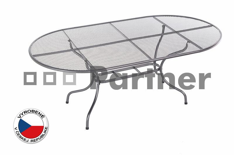 Záhradný stôl - Deokork - oválny 160 x 95 cm (kov)