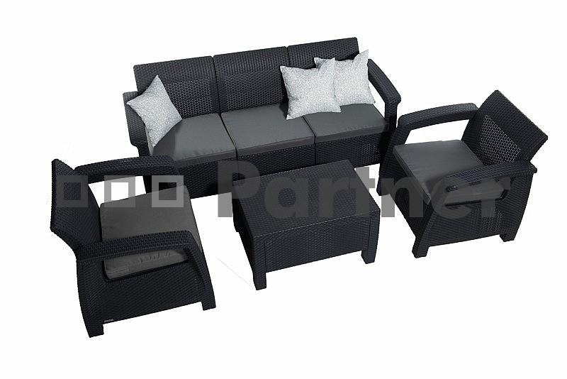651a25242028 Záhradný nábytok Corfu Lounge Max antracit (um. ratan)  vankúše ZADARMO