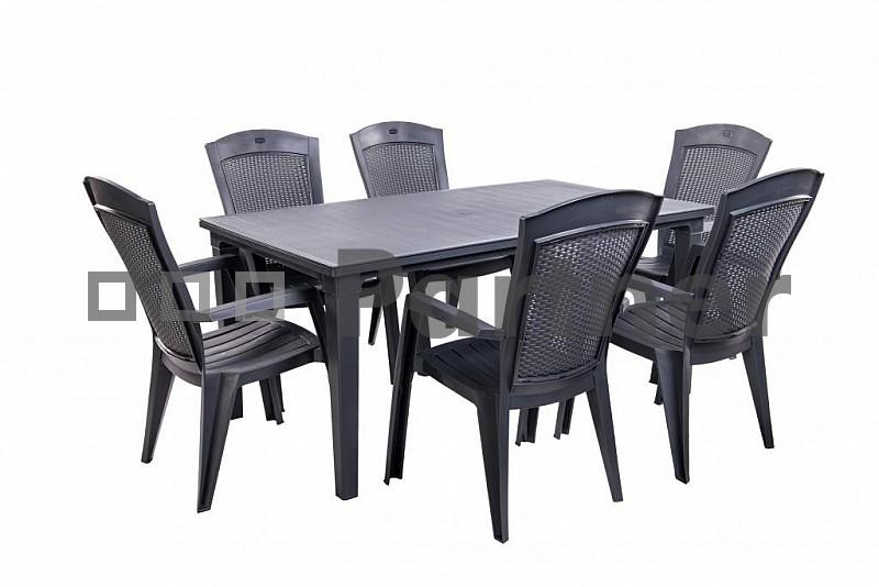d8201d439e3fa Záhradný nábytok Panda 1+6 antracit (Plast)   NovýNábytok.sk