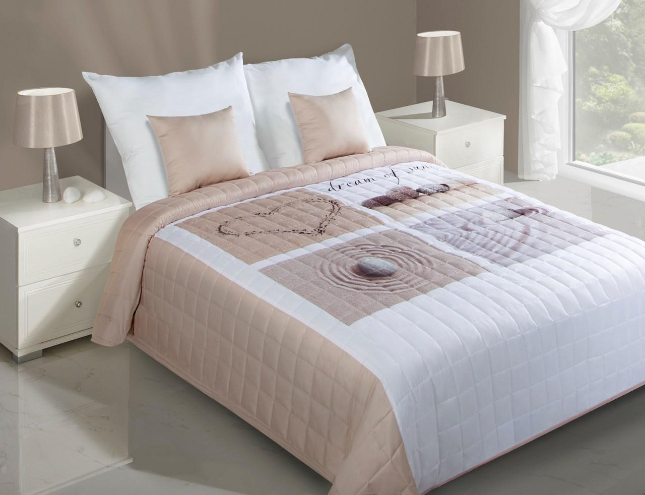 Prehoz na posteľ 240x220 cm - Eurofirany - Roza (krémová). Akcia -31%. Sme autorizovaný predajca Eurofirany. Vlastná spoľahlivá doprava až k Vám domov.
