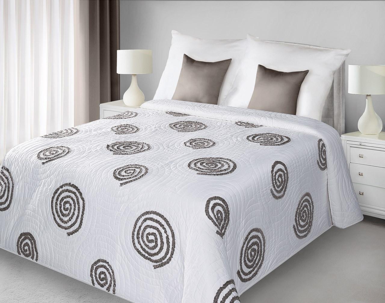 Prehoz na posteľ 240x220 cm - Eurofirany - Opi (biela + hnedá). Akcia -33%. Sme autorizovaný predajca Eurofirany. Vlastná spoľahlivá doprava až k Vám domov.