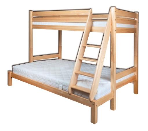 Poschodová posteľ 90 a 140 cm - Drewmax - LK 155 (masív)