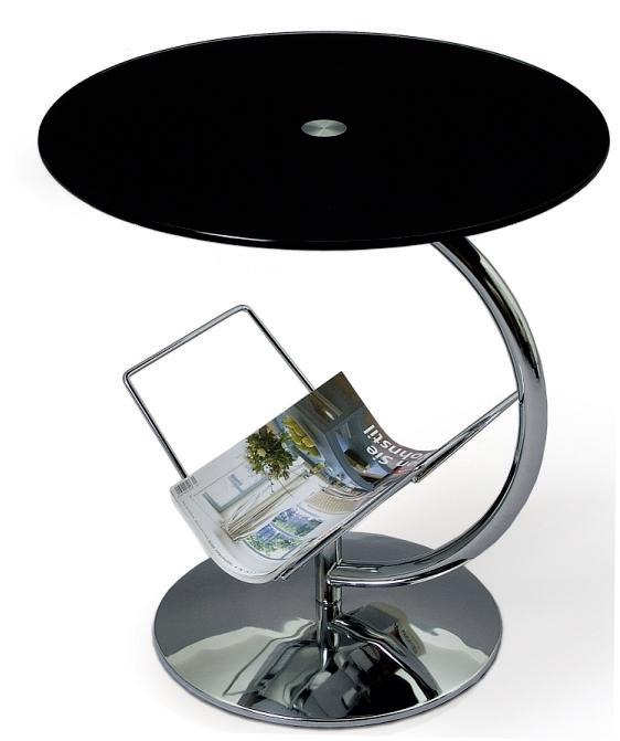 Príručný stolík - Famm - Alma (čierne sklo)