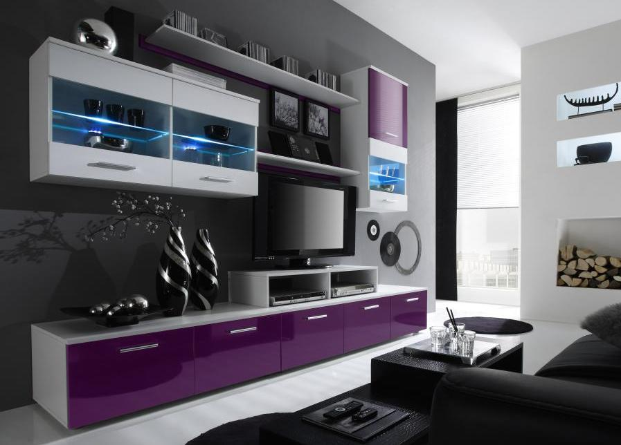 Obývacia stena  - Famm - Logo II LED biela + lesk fialový (s osvetlením)