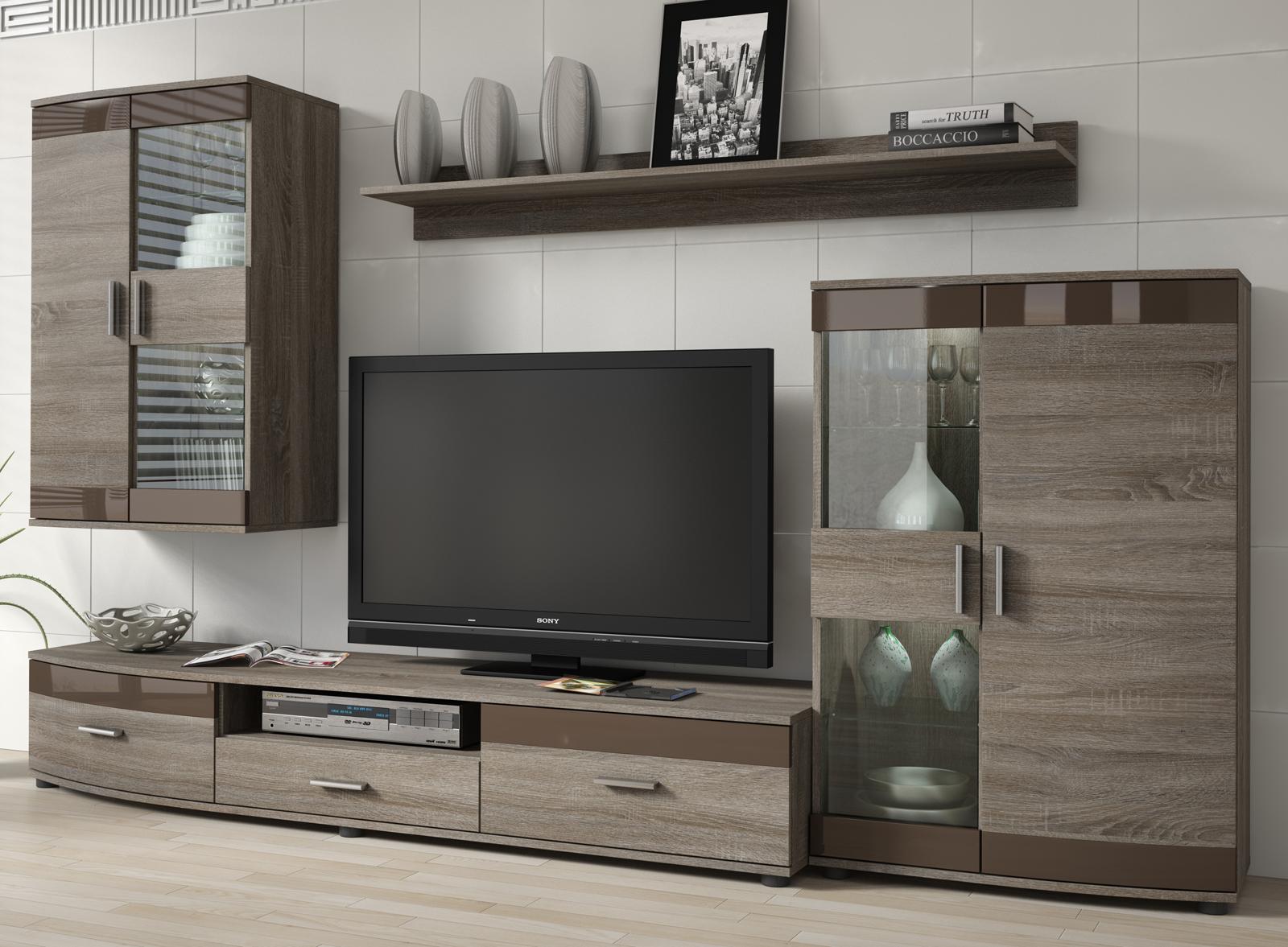 Obývacia stena - Famm - Siena P6SCSI (sonoma trufflova + hnedá) (s osvetlením). Akcia -9%. Sme autorizovaný predajca Famm. Vlastná spoľahlivá doprava až k Vám domov.