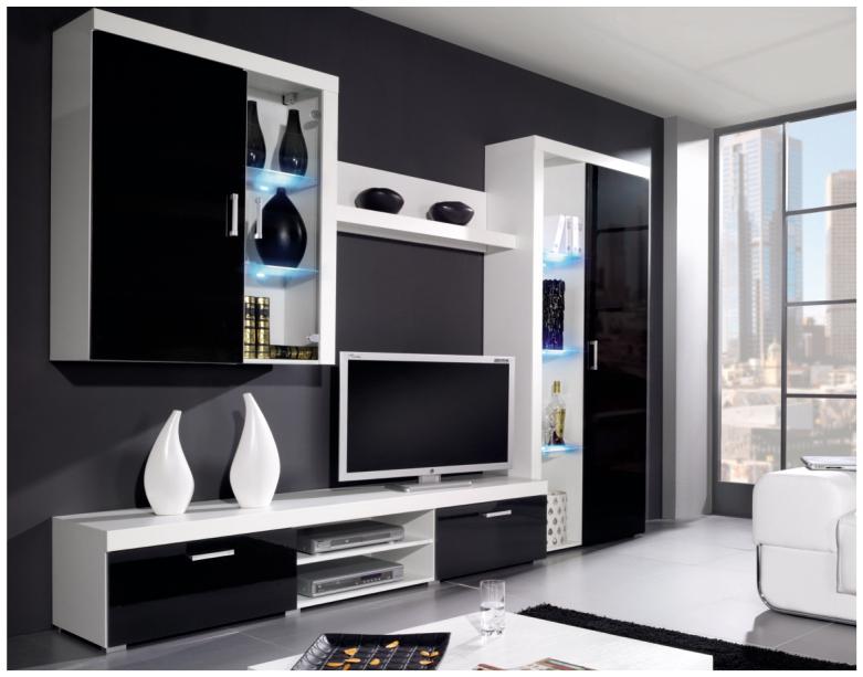 Obývacia stena - Famm - Samba B čierny lesk. Sme autorizovaný predajca Famm. Vlastná spoľahlivá doprava až k Vám domov.
