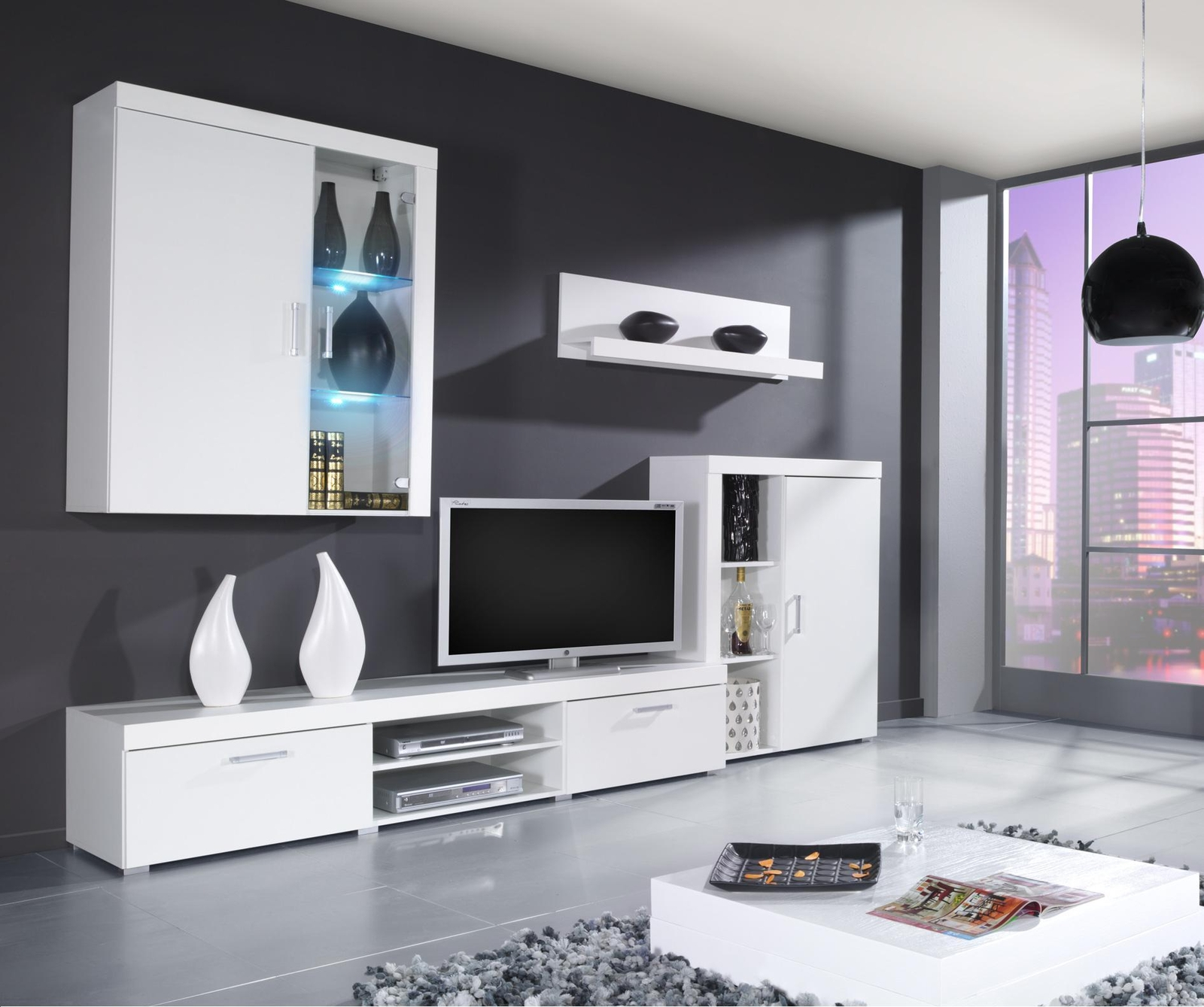 Obývacia stena  - Famm - Samba A LED biela+lesk biely (s osvetlením)