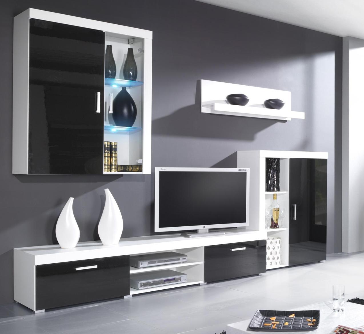 Obývacia stena  - Famm - Samba A LED biela+lesk čierny (s osvetlením)