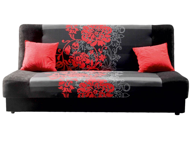 Pohovka trojsedačka - Famm - London 3R čierna + červený kvet . Akcia -21%. Sme autorizovaný predajca Famm. Vlastná spoľahlivá doprava až k Vám domov.