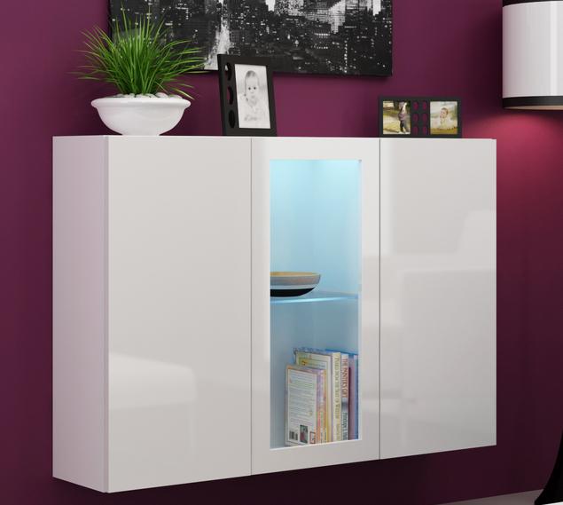 Vitrína na stenu - Famm - Vigo LED biela + biela (s osvetlením)
