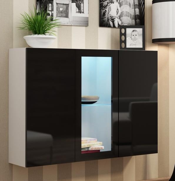 Vitrína na stenu - Famm - Vigo LED biela + čierna (s osvetlením)