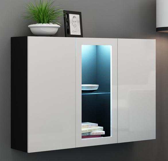 Vitrína na stenu - Famm - Vigo LED čierna + biela (s osvetlením)