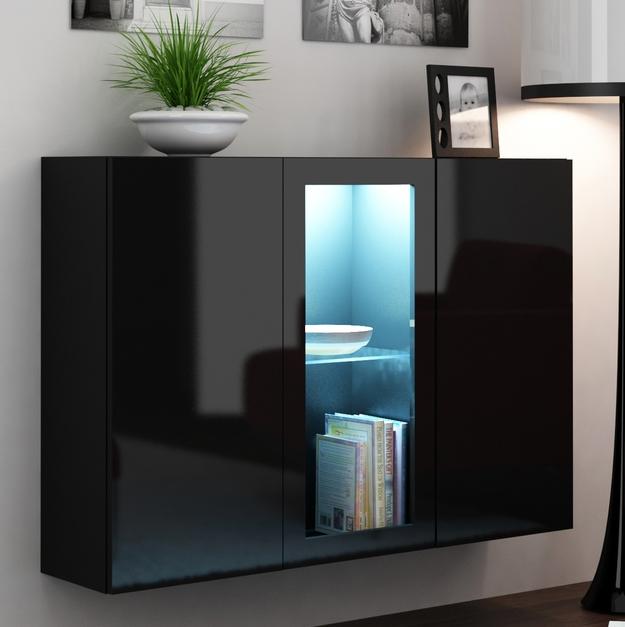 Vitrína na stenu - Famm - Vigo LED čierna + čierna (s osvetlením)