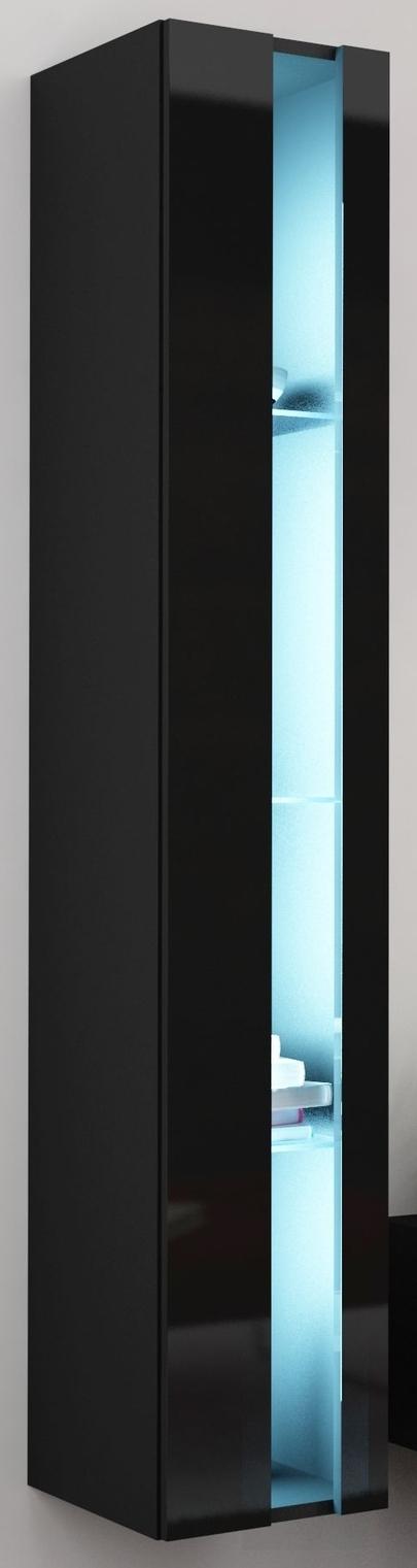 Vitrína na stenu - Famm - Vigo 180 otvorená LED čierna (s osvetlením)