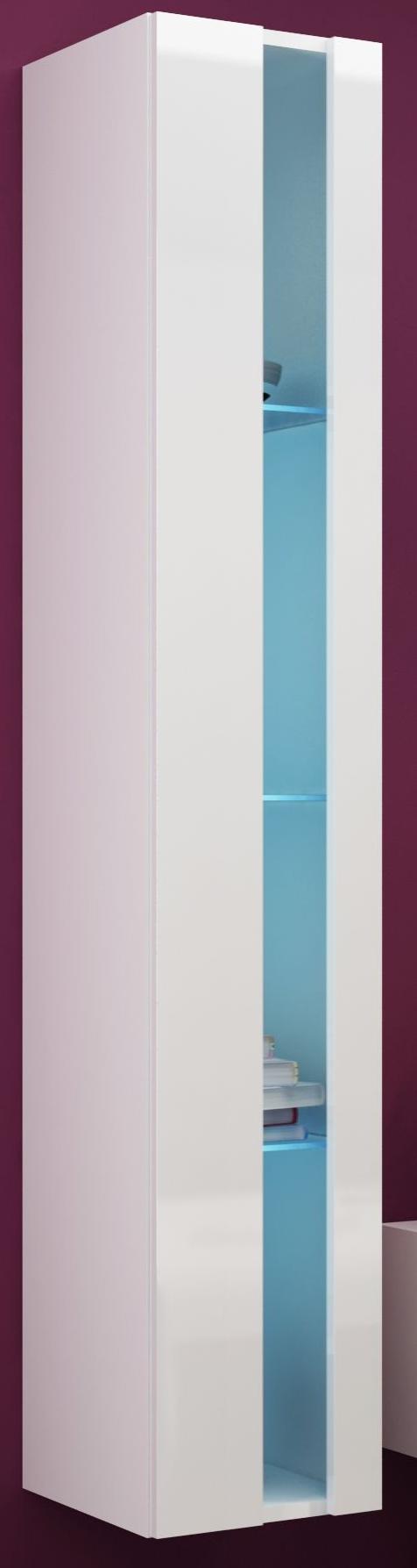 Vitrína na stenu - Famm - Vigo 180 otvorená LED biela (s osvetlením)