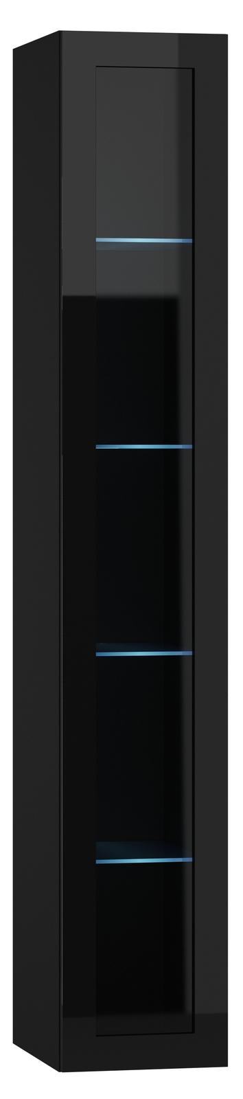 Vitrína na stenu - Famm - Vigo 180 sklo LED čierna (s osvetlením)
