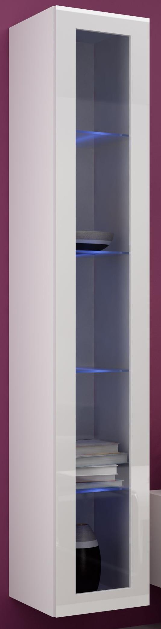 Vitrína na stenu - Famm - Vigo 180 sklo LED biela (s osvetlením)