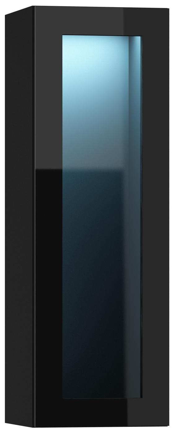 Vitrína na stenu - Famm - Vigo 90 LED čierna (s osvetlením)